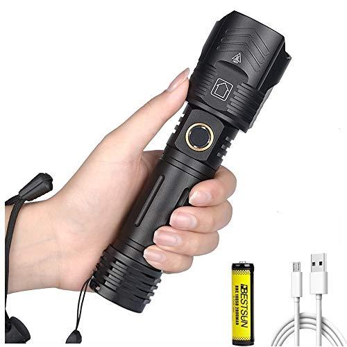 LUX JUMPER Linterna LED XHP100 de 12000 lúmenes más brillante, recargable, linterna táctica de superpotencia, con zoom, 5 modos, antorchas de mano, antorcha USB para acampar al aire libre con batería
