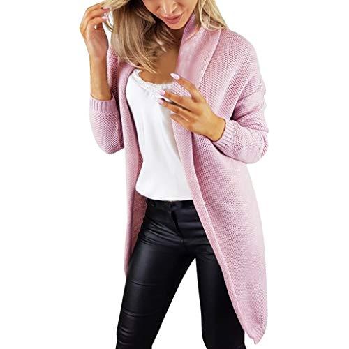 Damen Cardigan Pullover Lang Rainbow Kontrastfarbe Strickmantel Sweatjacke Pulli Mantel Stricken Hingpy