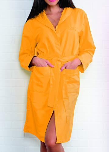 Buccia di Mela Accappatoio Unisex in Microfibra con Tasche Cintura e Cappuccio in Confezione salvaspazio. (Yellow Fall, L)