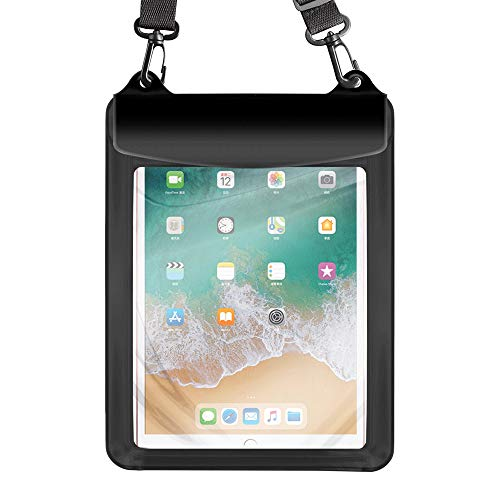 Universal Tablet Waterproof Case Pouch Dry Bag for iPad 10.2 / 9.7, iPad Pro 11 / 10.5, iPad Air, Samsung Galaxy Tab, Surface Go, Lenovo Dragon Touch Fusion5 Asus Vankyo MatrixPad Simbans LG (Black)