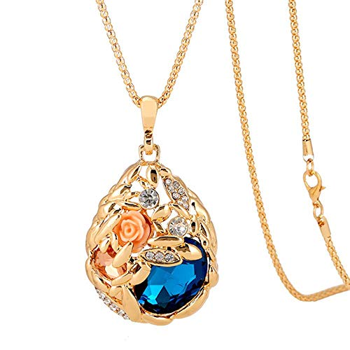 SHUX Strickjacke-Halskette Jewelry_Explosion Art-Weizen-Spitze-Anhänger Neuer grenzüberschreitender Kristallhalsketten-Legierungs-populärer Großverkauf, Champagne-Gold - färben Sie Blau