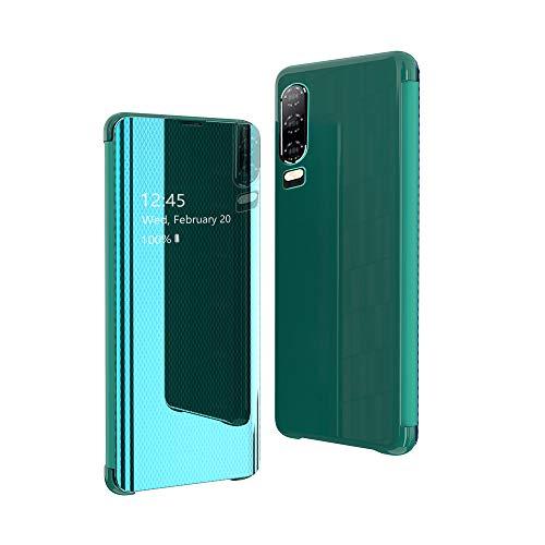 CrazyLemon Estuche para Huawei P30, Carcasa Protectora Delgada y Liviana Carcasa Espejo Visible Cuero PU + Microfibra PC Cubierta híbrida a Prueba de Golpes para teléfono Celular - Verde