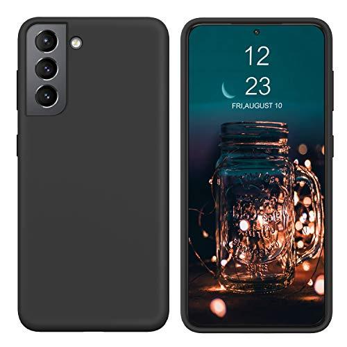 BENTOBEN Samsung Galaxy S21 Hülle Silikon Case, Samsung Galaxy S21 Handyhülle Slim Kratzfest Weiche Flüssigsilikon Gummi mit innem Soft Microfaser Tuch Futter Samsung Galaxy S21 2020 6.2'' Schwarz