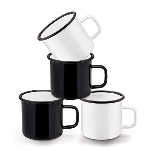 HaWare - Juego de 4 tazas de café esmaltadas, color blanco y negro, ideal para el hogar/oficina/viajes/camping, reutilizable y portátil, 350 ml (12 onzas)