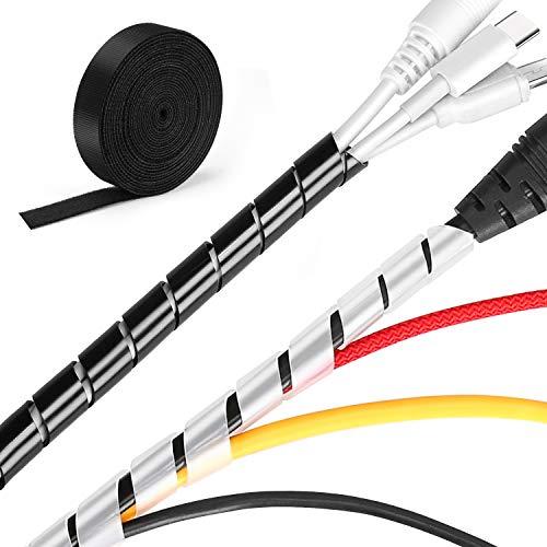 MOSOTECH Kabelmanagement System, 2x5.2m Spiral-Kabelschlauch in Schwarz und Transparent + 1x3.1m Klett Kabelbinder zum Bündeln von Kabeln, Frei Zuschneidba