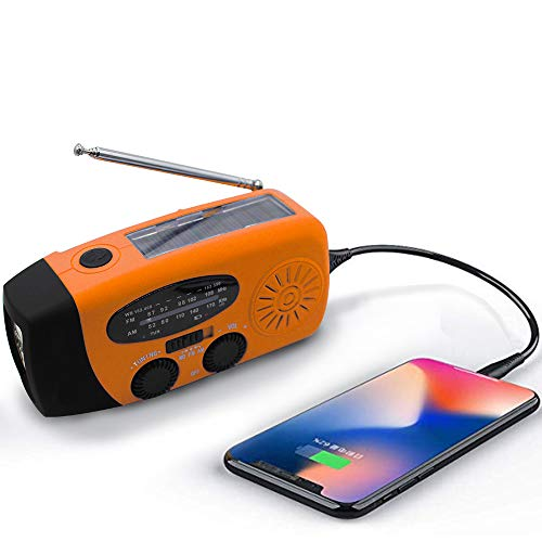 Upgraded Emergency Solar Weather Radio Hurricane Supplies Earthquake Kit Hand Crank Self Powered AM/FM/WB NOAA Wind up Survival Radios LED Flashlight 1000mAh Power Bank for iPhone Smart Phone (Orange)