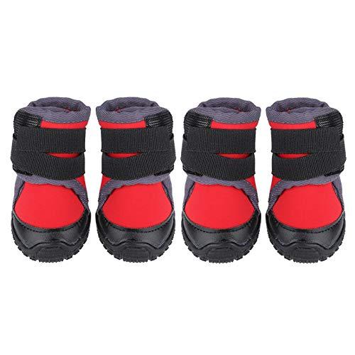 ドッグブーツ 犬 靴 犬用登山靴 滑り止め 雨の日 柔らかい 軽い 散歩 介護 肉球保護 登山、ハイキング、ランニング、トレーニングなどのアウトドアアクティビティに適用 4個入り (赤90)