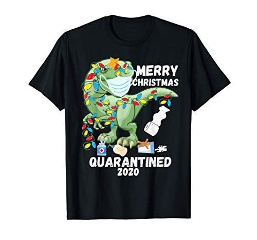 Funny T Rex Dinosaur Christmas Quarantine Men Family Pajamas T-Shirt