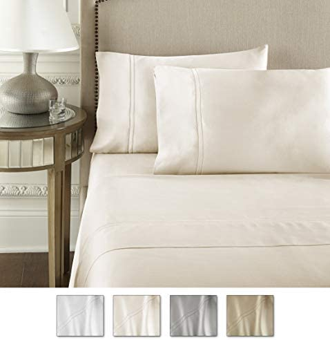 Pure Parima Luxury 100% CEA Certified Egyptian Cotton Sheet Bed Set   Extra-Long Staple   Cool, Breathable, Ultra Comfort   Double Hem-Stitched   Flat, Fitted, and 2 Pillow Cases (Ivory, King)