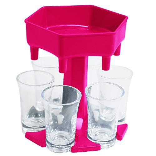 YARNOW 6-Wege-Schnapsglasspender Und -Halter mit 6 Acrylbechern Neuer Sechseck-Cocktailspender zum Befüllen von Flüssigkeiten Schnelles Gießen Mehrere Trinkspiele Weinspender