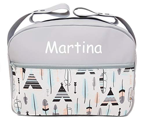 Maxi bolso para carrito de bebé BORDADA CON EL NOMBRE del bebé. Varios modelos y colores disponibles. (Tipis y Plumas)