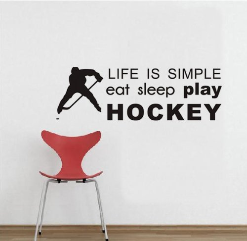 Life is Simple Eat Sleep Play hockey quote Wall Saying for home boy' S Room Decor con Hockey Player Sillhouette vinyl Lettering Wall Tattoo by Walldecorer