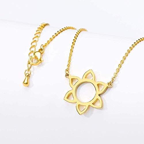 Yaoliangliang Collar con Colgante de Seis pétalos de Flores para Mujer, Cadena Larga de Acero Inoxidable de Color Dorado y Plateado, Collar de Flores de corazón Hueco, Regalo
