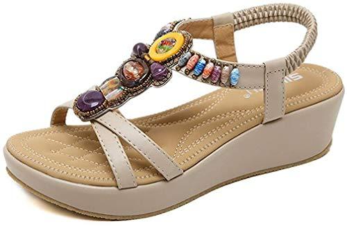 2020 Sandalias Mujer Chanclas Tacon de Cuña Plataforma del Verano Cómodos Zapatos Bohemias Las Sandalias Planas
