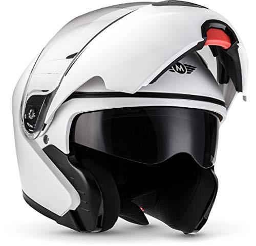 MOTO F19 Matt White · Urban Flip-Up Integrale Moto Sport Casco da motocicletta modulare Cruiser Scooter Modular-Helmet Urbano · ECE certificado · dos viseras incluidas · incluyendo bolsa de casco · Blanco · L (59-60cm)