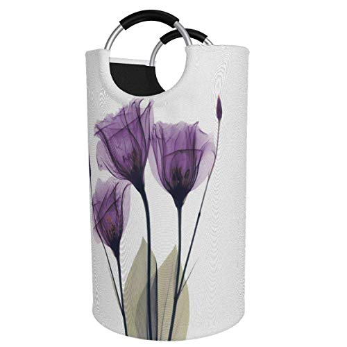 Cesto para la colada extragrande, de 82 l, diseño abstracto de flores moradas, plegable, con asas de aluminio, cesta grande para la ropa de niños, cesta de almacenamiento redonda para dormitorio