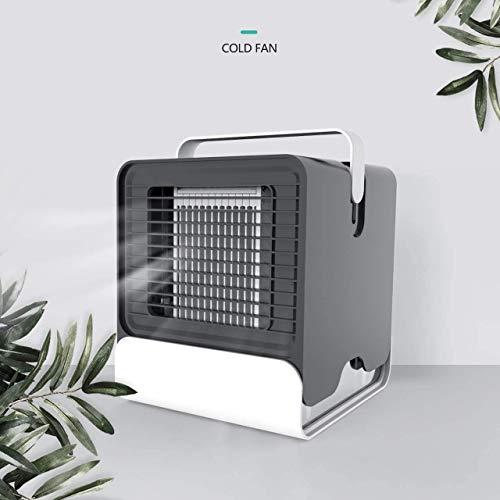 Alfheim Mini-luchtkoeler, luchtbevochtiger, draagbare negatieve ionen-airconditioning met nachtlampje, USB, persoonlijke ruimte, mobiele verdampingsventilator voor kantoor, thuis, outdoor, slaapkamer zwart