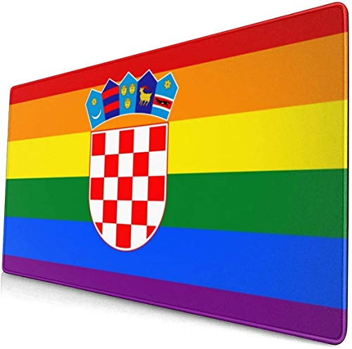 Croatian Rainbow Flag Extended Gaming Mouse Pad with Stitched Edges, Long Mousepad (29.5x15.7In), Desk Pad Keyboard Mat, Non-Slip Base, Water-Resistant, for Work & Gaming, Office & Home
