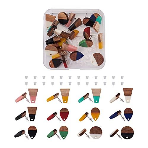 Beadthoven 12 pendientes de madera de resina de París con forma de lágrima trapezoidal plana redonda de resina vintage de nogal con 100 tuercas de oreja para hacer joyas de pendientes