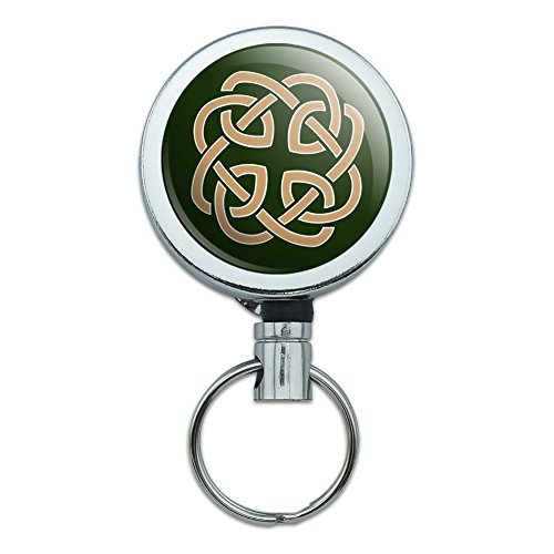 Celtic Knot Love Eternity Heavy Duty Metal Retractable Reel ID Badge Key Card Tag Holder with Belt Clip