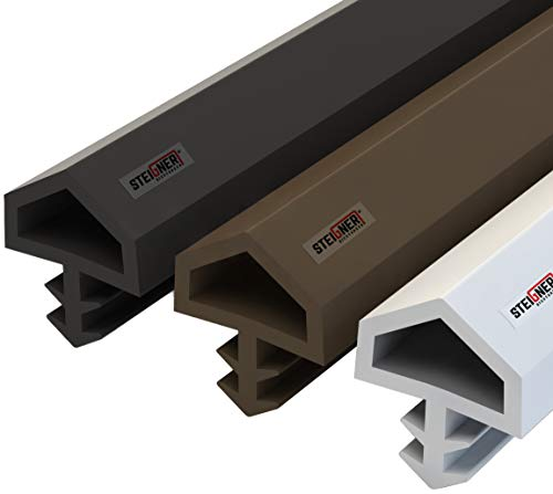 STEIGNER Burlete para Puerta y Ventana STD05 10m 12mm Blanco Junta de goma Perfil de estanqueidad para ventanas y puertas de PVC, Madera, Aluminio