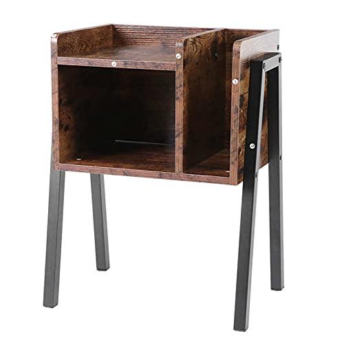 Electric oven Mesita de noche, mesa auxiliar apilable con mesitas de noche de almacenamiento para espacios pequeños con marco de metal estable, fácil montaje
