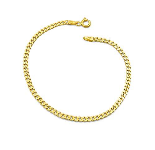 Damen-Armband Panzerarmband 925 Sterling Silber vergoldet 3mm breit Länge wählbar 17 18 19 20 cm Panzerkette Gold Armkette (19)