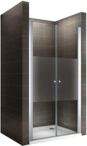 Porte de douche en verre transparent avec bande opaque - Hauteur 180 cm (68x180)