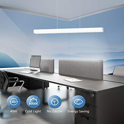 OOWOLF 40W Oficina LED Lampara De Techo Colgante,Colgante De Luz Fria 6000K Altura Regulables 3000lm Para Supermercado Mesa, Comedor, Fabrica, Centros