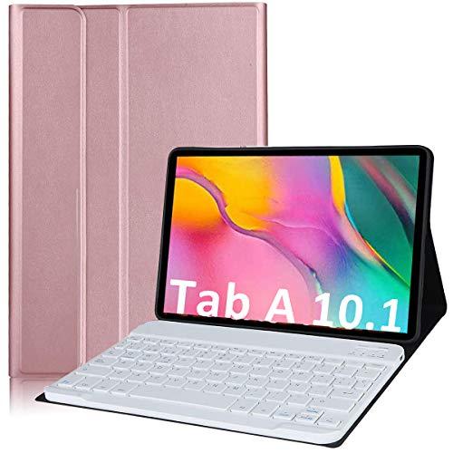 YingStar Funda con Teclado Español Ñ para Samsung Galaxy Tab A 10.1 2019 T510 / T515 Carcasa con Teclado Bluetooth Inalámbrico Estuche con Keyboard Magnético Desmontable para Samsung Galaxy Tab A 10.1