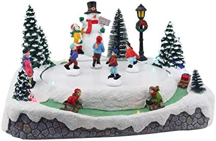 Christmas Village Skating Pond Animated Lighted Musical Snow Village Perfect Addition to Your product image