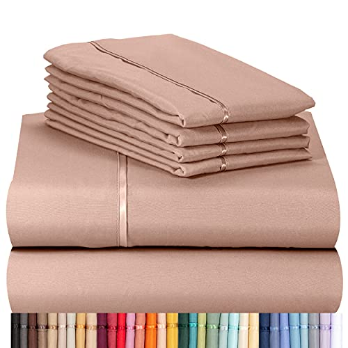 LuxClub 6 PC Sheet Set Bamboo Sheets Deep Pockets 18 Eco Friendly Wrinkle Free Sheets Machine Washable Hotel Bedding Silky Soft - Pearl Pink Queen