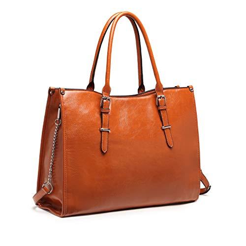 Laptop Bag for Women 15.6 Inch Waterproof Lightweight Leather Computer Tote Bag Business Office Briefcase Large Capacity Handbag Shoulder Bag Professional Office Work Bag (Brown)