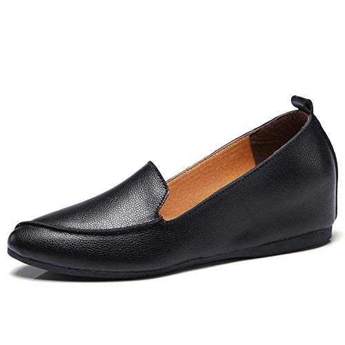 Cow Muscle Ballet Light Shoes Sewing Women Genuine Leather Shoes Woman Flexible Nurse Soft Peas Loafer Flats Increase,Black,7