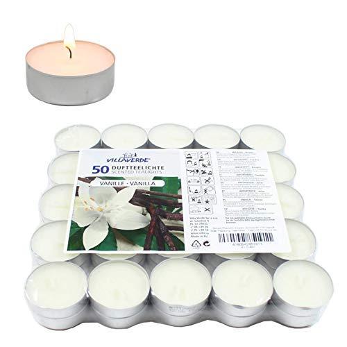 Smart Planet® Kerzen Ambiente - 50 Stück Duftteelichter Teelichte Set Vanille Duft Aroma - Aluminium Hülle - 4 Stunden Lange Brenndauer