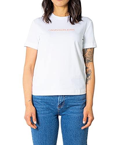 Calvin Klein Jeans Shrunken Institutional tee Cuello extendido, Blanco Brillante, S para Mujer
