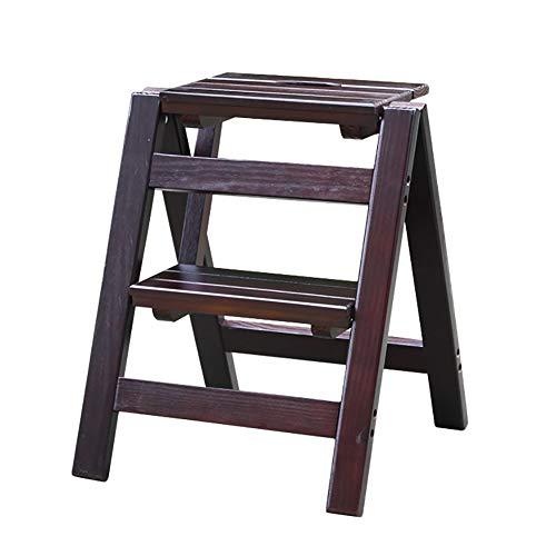 ZXWDIAN Ménage pliant escabeau escabeau petite échelle en bois escabeau escabeau échelle portable Escabeau banc chaussure changement banc (Couleur : Marron foncé)