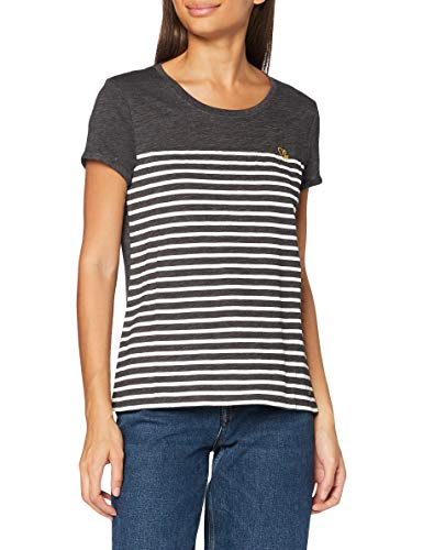 TOM TAILOR Denim Damen Streifen Embro T-Shirt, 10522-Shale Grey Melange, M