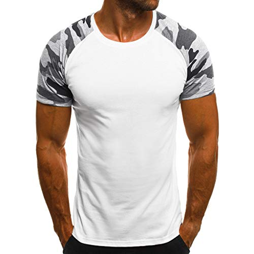 Willsa Mens Shirts, Fashion Casual Camouflage Printed Patchwork Short Sleeve O Neck Slim T Shirt Tops