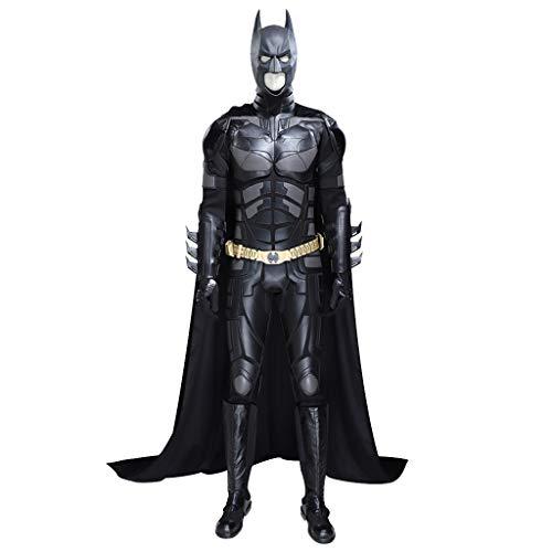 nihiug Justice League Batman The Dark Knight Costume Cloak Halloween Cosplay Set Completo di Supporto Abbigliamento Collezione privata Personalizzata,Black-L