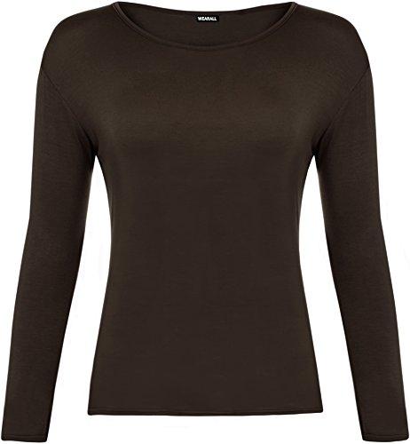 WearAll - Damen T-Shirt Langarm Top - Braun - 40-42