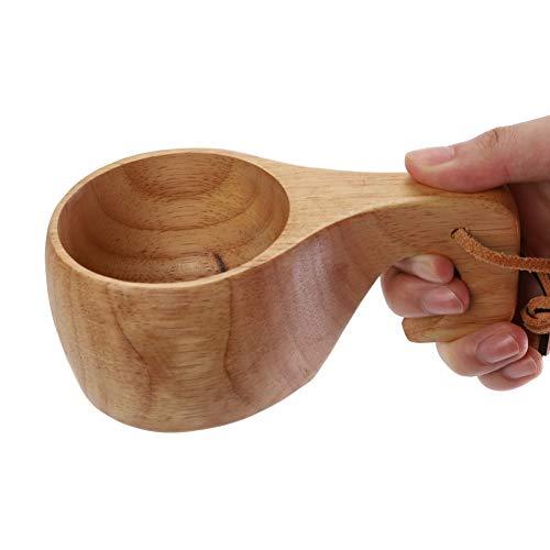 Artbro Kuksa Tasse aus Holz, traditionell, mit Lederband für den Außenbereich, Camping, Kaffeetasse, langlebig, leicht, handgefertigt, a