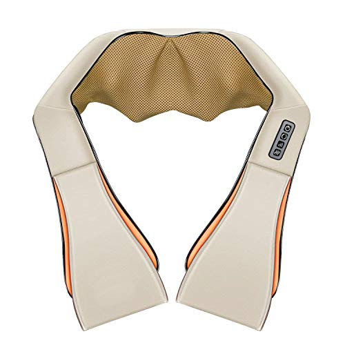 Neck Back and Shoulder Massager, Electric Shiatsu Massager with Heating, Deep Tissue 3D Kneading Pressure Massager for Neck, Back, Shoulder, Foot, Legs, Waist and Body Muscle Pain Relief (Beige)