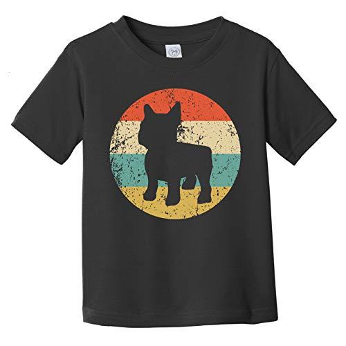 Retro French Bulldog Icon Frenchie Dog Silhouette Infant/Toddler T-Shirt, 3T Black