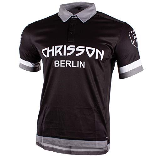 CHRISSON Lifechanger Grau XL Laufshirt Kurzarm Fahrradtrikot für Herren, Atmungsaktives Polohemd für Männer, Schnelltrocknendes Funktionsshirt, Quick Dry Polo-Shirt für Laufen, Training, Running