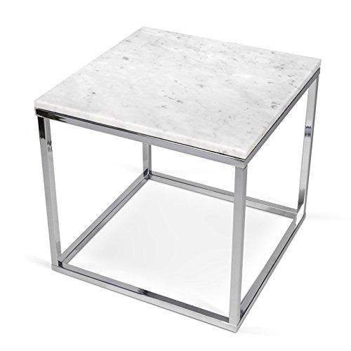 Paris Prix - Temahome - Table D'appoint 50cm Prairie Marbre Blanc & Métal Chromé