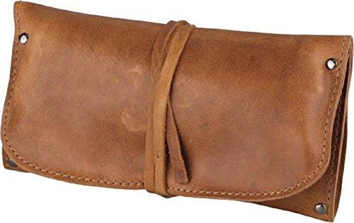 Pfeifen-Rollbeutel Leder braun antik 18cm / 1er Fächer für Feuerzeug, Tabak, Pfeifenbesteck und -reiniger