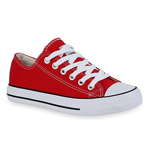 stiefelparadies Damen Schuhe Sneakers Sportschuhe Schnürer Schuhe 53128 Rot Ambler 37 Flandell