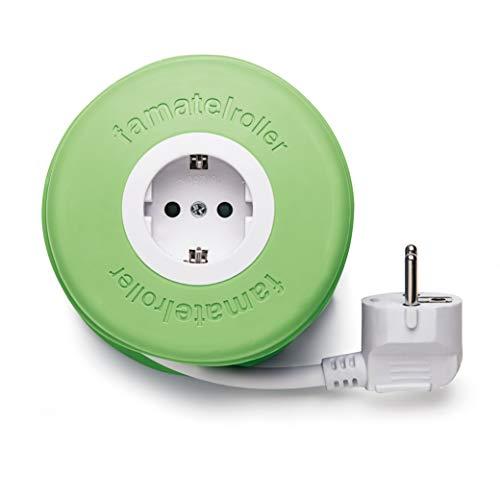 Famatel 2992-G Roller | Enrollable con 1 Toma | 2 Metros | con Material de Silicona | Protección Infantil | con una Alta flexibilidad y Resistencia | Verde