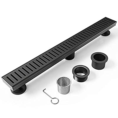 WEBANG 28 Inch Rectangular Linear Shower Floor Drain With Accessories,Capsule Pattern Grate Removable,Food-grade SUS 304 Stainless Steel,WATERMARK&CUPC Certified,Matte Black